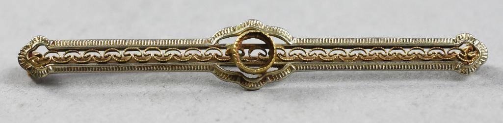 Victorian 10K Yellow Gold Bar Pin/Brooch