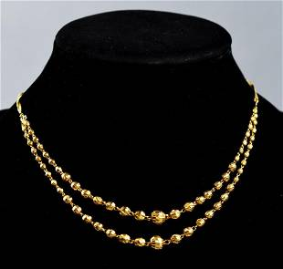 22K Yellow Gold Textured Bead Necklace