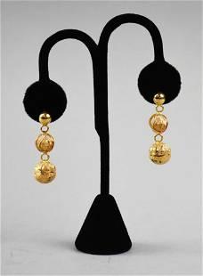 14K Gold Ball Dangle Earrings