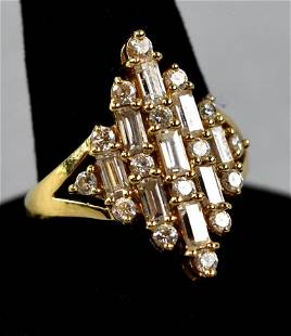 14K Gold and CZ Cocktail Ring