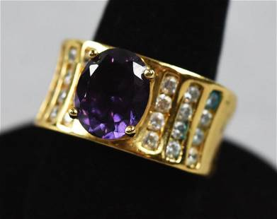 Purple Sapphire & Gold Vermeil Ring
