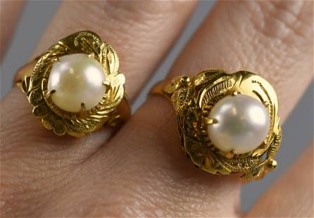 Two 18k Gold & Pearl Rings