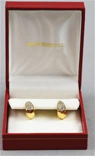18K Yellow Gold and Diamond Encrusted Hoop Earrings