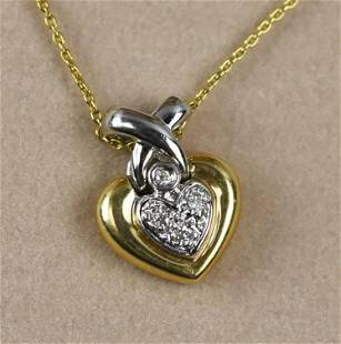 14K White and Yellow Gold, Diamond Heart Necklace