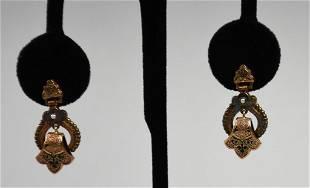 Antique 10K Gold Etruscan Screw Back Earrings