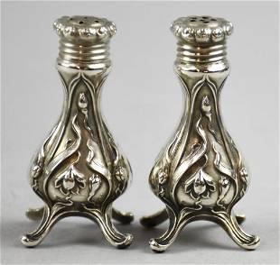 Art Nouveau Sterling Silver Salt & Pepper Shakers