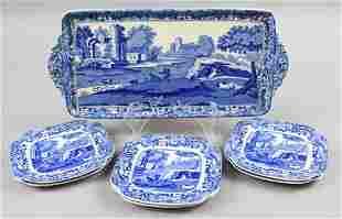 Antique Copeland Spode Blue Italian Luncheon Set