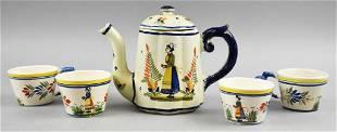 Antique Henriot Quimper Teapot & Tea Cups