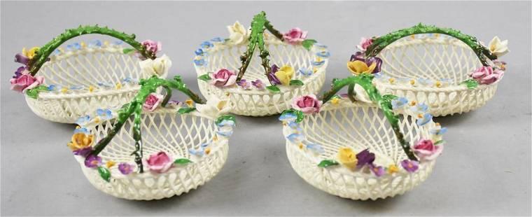 (5) Antique Dresden & Royal Vienna Porcelain Baskets