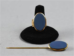Antique Men's Agate Jewelry Ring 18K & Stick Pin