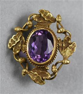Victorian 14K Gold and Amethyst Brooch
