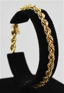 Signed 14K Yellow Gold Rope Chain Bracelet