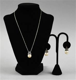 Sterling & Marcasite Necklace Earring Set