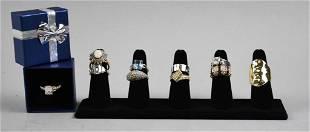 (10) Costume Jewelry Rings, Various Stones/Sizes