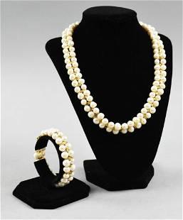 Double Strand Pearl Necklace & Bracelet