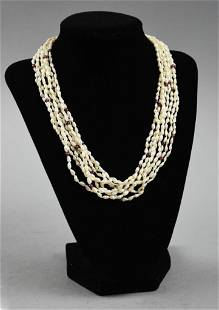 Multi Strand Freshwater Pearl & Garnet Bead Necklace