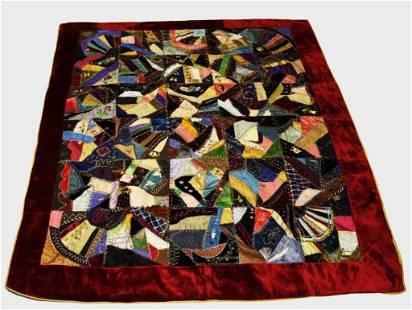Antique 19th Century Silk Crazy Quilt