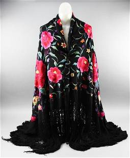 Victorian Hand Embroidered Silk Piano Shawl