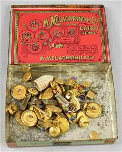 Vintage Box of Military Buttons, Ribbons, Pins & More