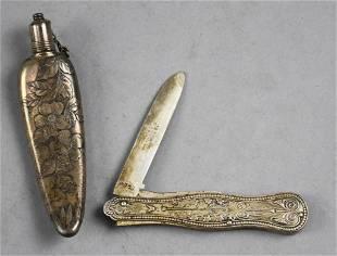 Antique Sterling Chatelaine Perfume & Pocket Knife