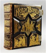 1892 Tooled Leather Pronouncing Parallel Holy Bible