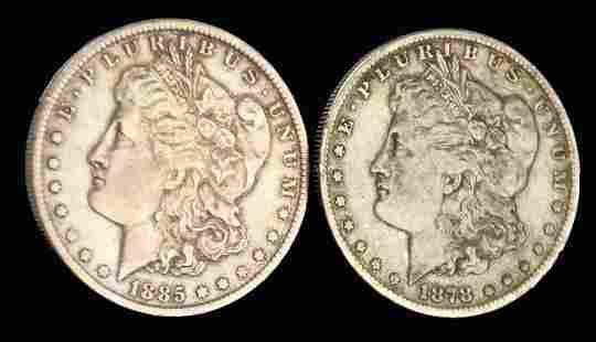 1878-S and 1885-O Morgan Silver Dollars