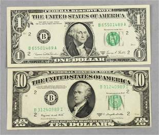 1969 D $1 Bill, 1950 C $10 Bill
