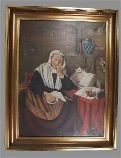 Vintage Dutch Painting, P. Van Hoeck, Oil On Canvas