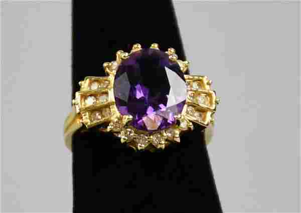 Gorgeous 14k Gold Amethyst & Diamond Ring