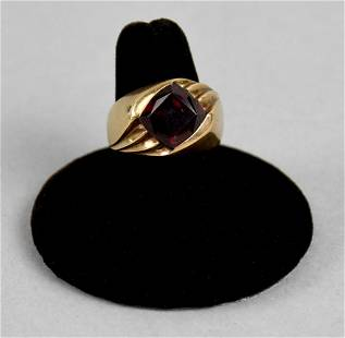 Vintage 14k Yellow Gold & Syn. Ruby Ring