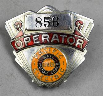 Rare c1930 Pacific Electric Lines Operator Hat Badge