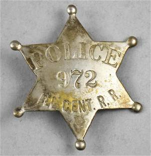 Obsolete Illinois Central Railroad Police Badge