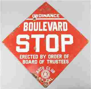 Vintage So Cal Auto Club Porcelain Stop Sign