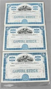 Seatrain Lines Stock Certs, Signed J.S. Rockefeller
