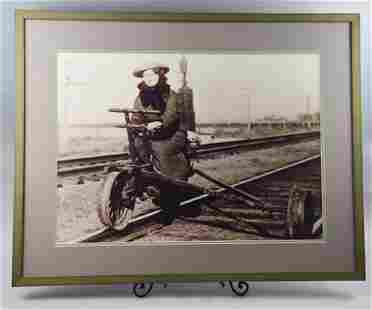 B&W Photo, Woman on AT & SF Velocipede LARGE