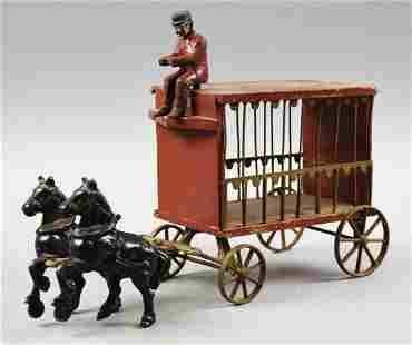 c1910 Arcade Cast Iron Horse Drawn Circus Wagon