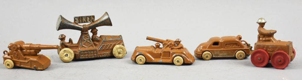 (5) c1930 Manoil & Barclay Lead Military Vehicles