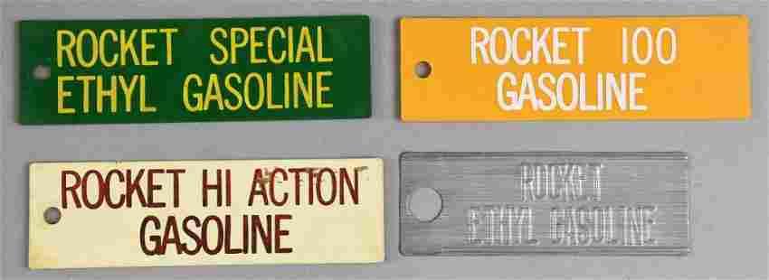 (4) Vintage Rocket Gas Pump Tags