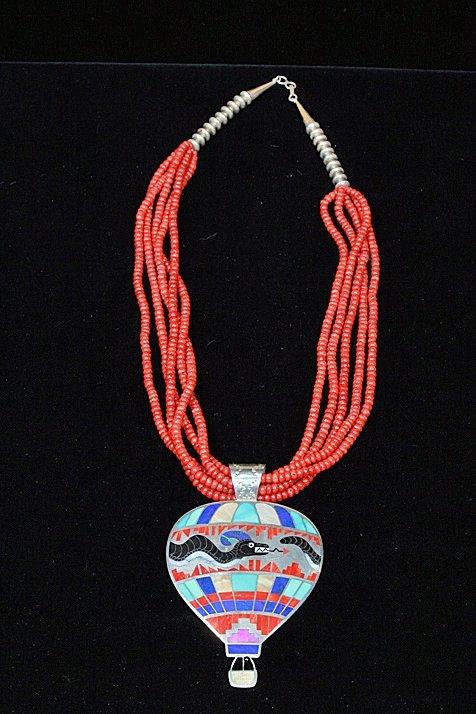 RARE Zuni Laconsello Hot Air Balloon Necklace