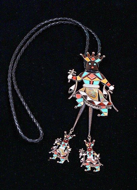 Zuni Sterling Apache Crown Dancer Kachina Bolo