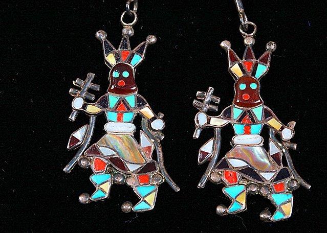 Zuni Sterling Apache Crown Dancer Kachina Bolo - 2