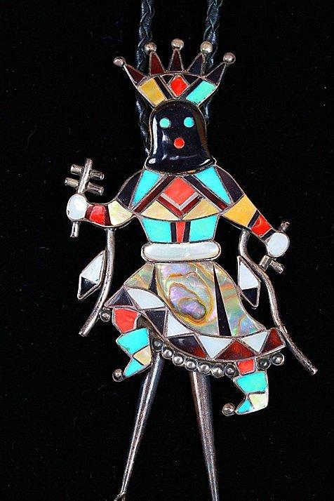 Zuni Sterling Apache Crown Dancer Kachina Bolo - 3