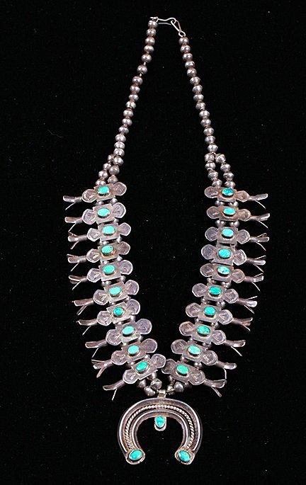 Zuni Bowtie Squash Blossom Necklace