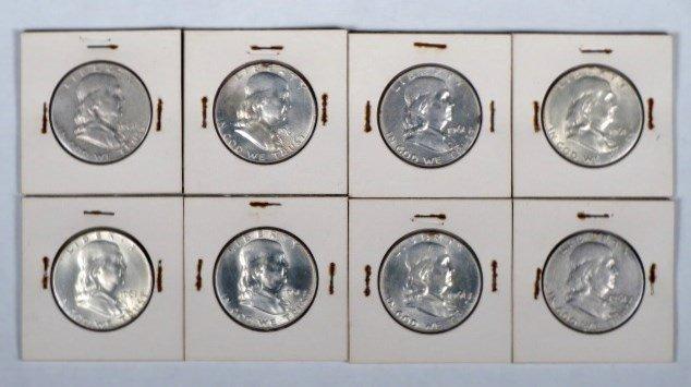 Lot of 8 1961 Franklin Silver Half Dollars