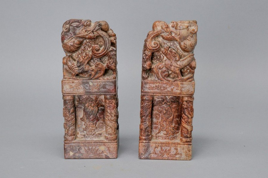 Chinese Heavily Carved Stone Dragon Seals