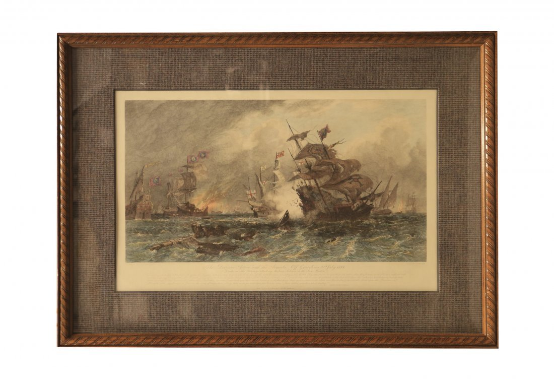 Antique Hand Colored etching of the Spanish Armada,
