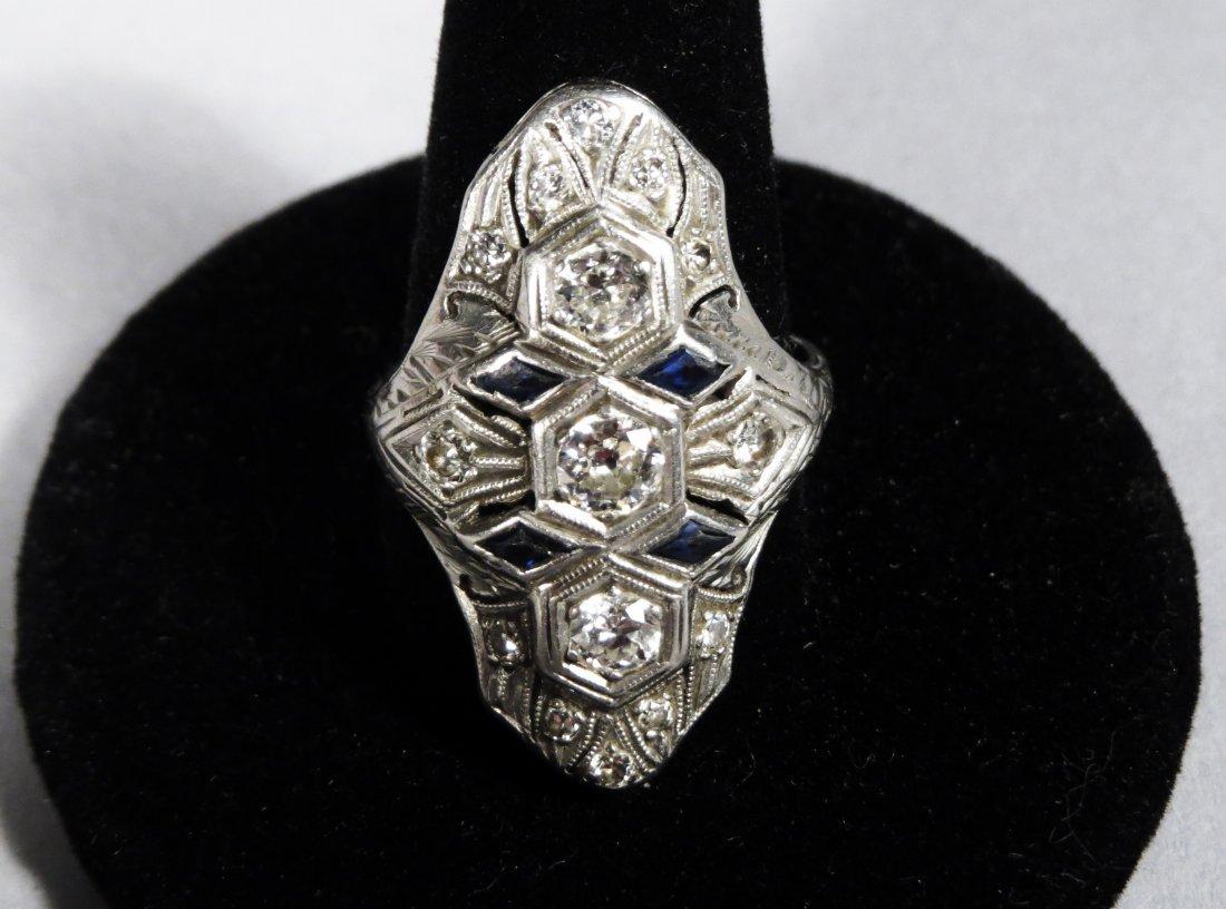 1920'S ART DECO Diamond & Sapphire Platinum Ladies