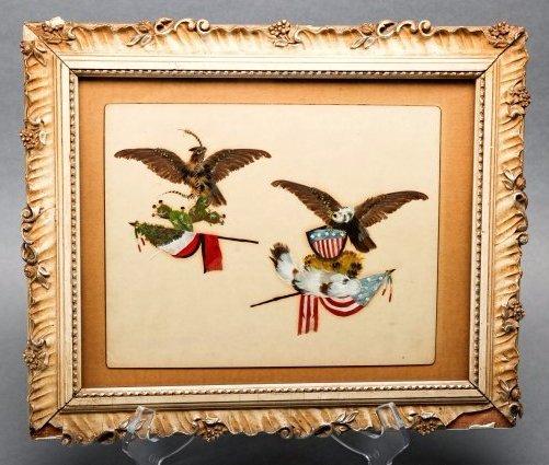 Antique c1850 Patriotic Feather Artwork, United States
