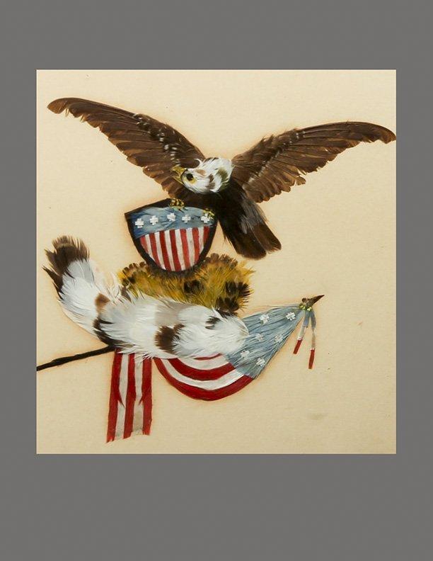 Antique c1850 Patriotic Feather Artwork, United States - 3