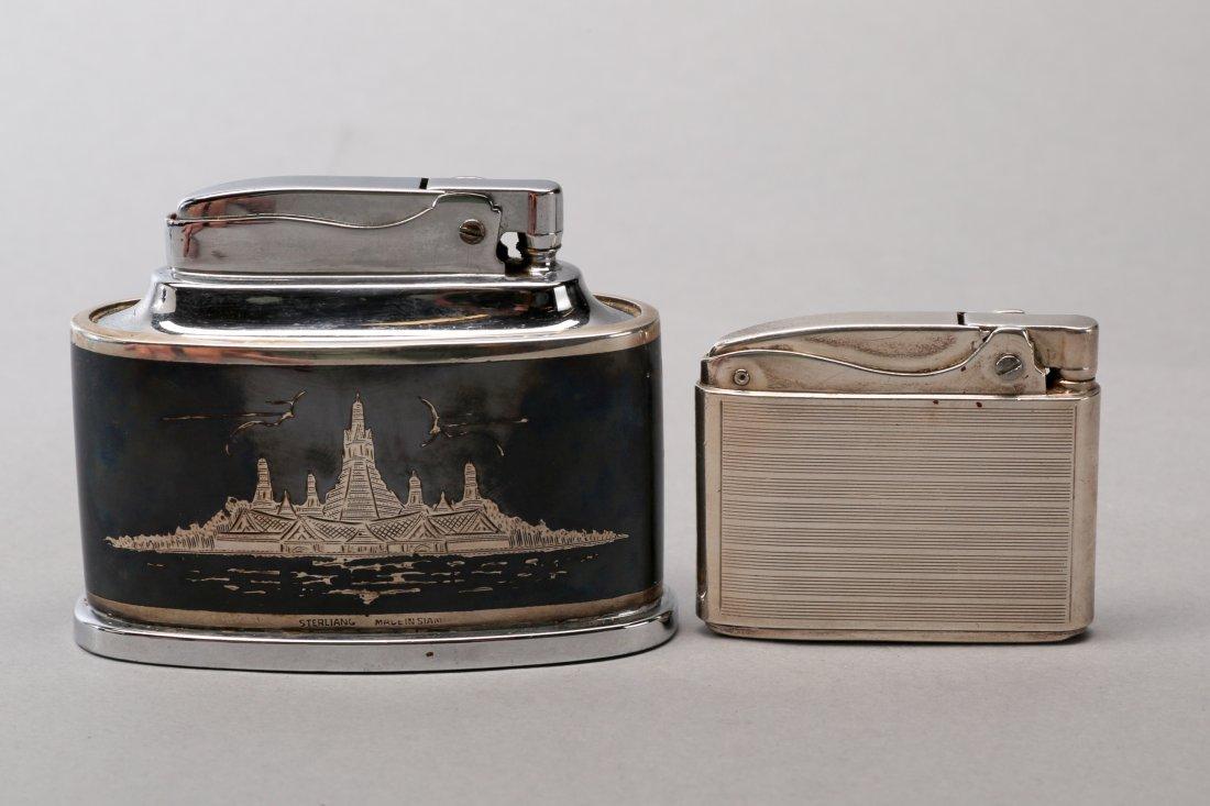 2 Vintage Sterling Silver Ronson Lighters - 2